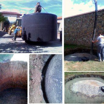 Ειδική μεταφορά και τοποθέτηση κάτω από τη γη, δεξαμενής για αποθήκευση λυμάτων παραγωγής λαδιού