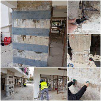 Επισκευή υποστυλωμάτων και τοιχίων οπλισμένου σκυροδέματος με γαλβανική και καθοδική προστασία και ενίσχυση με ανθρακοϋφάσματα στην Παραλία Διονυσίου σε συνεργασία με την εταιρεία MBRACE