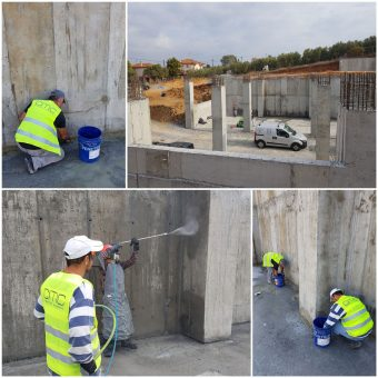 Στεγανοποίηση υπογείου με το σύστημα της εταιρείας Penetron στο υπόγειο εμπορικής αποθήκης στα Νέα Μουδανιά