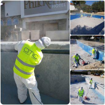 Αποκατάσταση πισίνας σε ξενοδοχείο στα Ψακούδια Χαλκιδικής