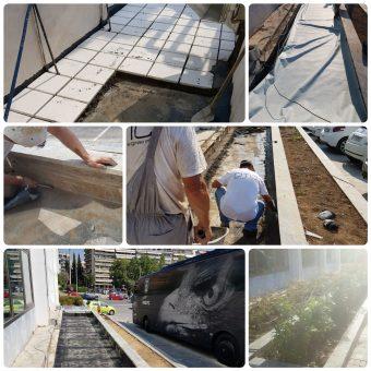 Εργασίες αποκατάστασης περιβάλλοντος χώρου και στεγανοποίησης παρτεριών σε ξενοδοχείο στην Θεσσαλονίκη